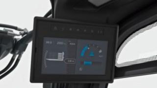 En 7-tumsskärm visar information om last och bilder från kameran