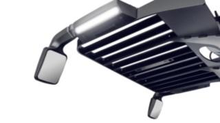 Spiegelmodul mit LED-Licht an der Fahrerkabine des Schmalganggeräts K von Linde Material Handling