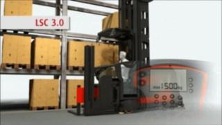 Animering som visar Linde System Control (LSC), som är ett tillvalssystem för Lindes smalgångstruckar.