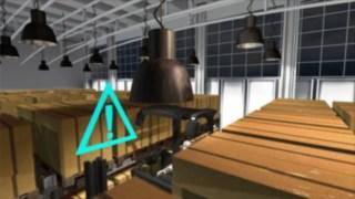 Animeringen visar gångsäkerhetsassistenten som är ett tillval för Lindes smalgångstruckar.