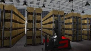 Animering som visar smalgångsnavigeringssystemet, som finns som tillval för Lindes K-kombitruckar.
